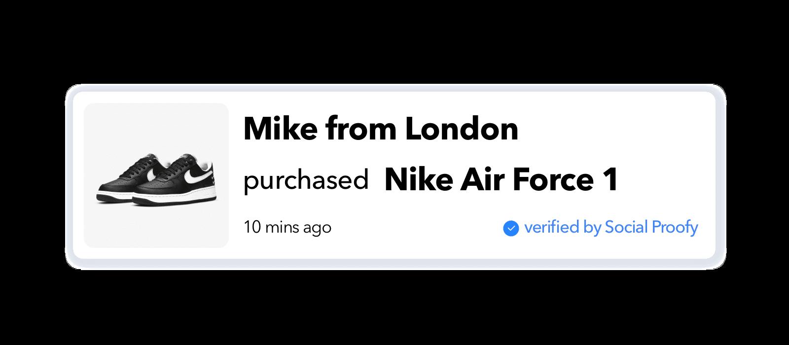 Recent Sales Pop Widget